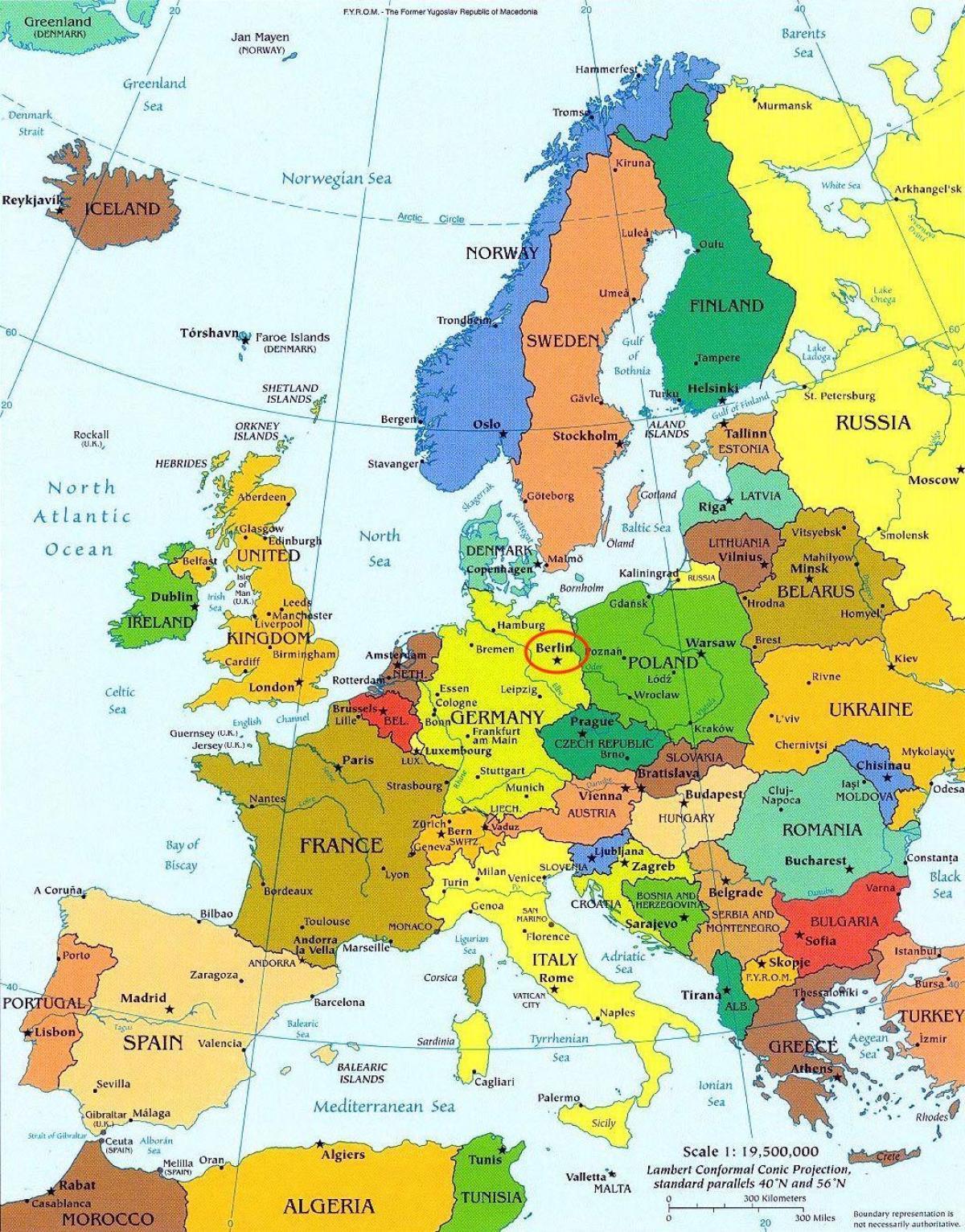 Berlin Karta Europa Karta Over Berlin Karta Europa Tyskland